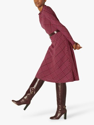 LK Bennett Katie Wool Blend Check Midi Dress, Pink/Burgundy