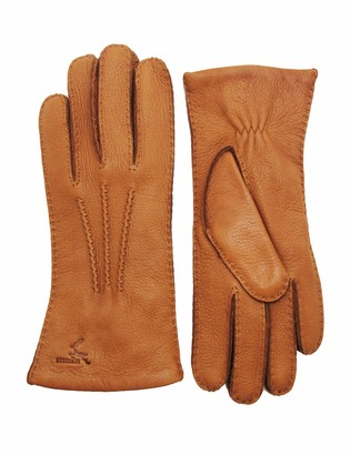 YISEVEN Women Cashmere Lined Deerskin Leather Gloves Handsewn Warm for Winter Dress Motorcycle Driving gift Cognac XXL