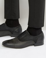 Asos Brogue Shoes In Black Leather and Textile
