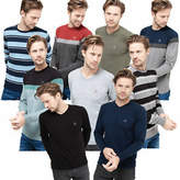 Men Light Knit Jumper Striped Crew or V Neck Light Weight Cotton Top Duck&Cover