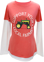 John Deere Sunset 'Support Your Local Farmer' Layered Tee - Plus Too