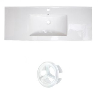 "American Imaginations Roxy Ceramic 48"" Single Bathroom Vanity Top Faucet Mount: Single Hole, Overflow Cap Color: White"