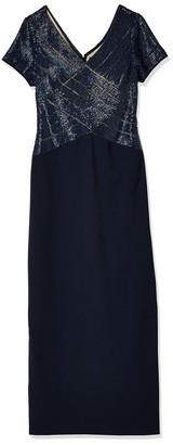 Adrianna Papell Women's Short Sleeve V Neck Beaded Long Gown Petite