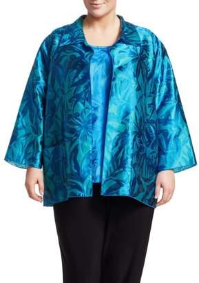 Caroline Rose Caroline Rose, Plus Size Blue Hawaii 2-Piece Jacquard Shirt & Long Tank Set