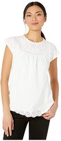 Lucky Brand Cap Sleeve Crew Neck Knit Woven Mix Printed Top (Bright White) Women's Clothing