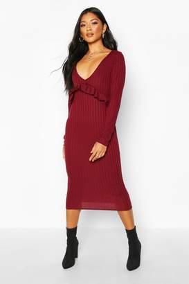boohoo Rib Ruffle Long Sleeve Midi Dress