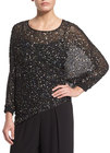 st john collection handbeaded asymmetric chiffon blouse caviar