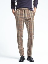Banana Republic Slim Madras Cotton Linen Suit Trouser