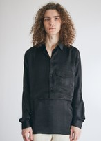 Goetze Men's Georgy Double Layered Bib Overalls Shirt in Black Satin, Size 46