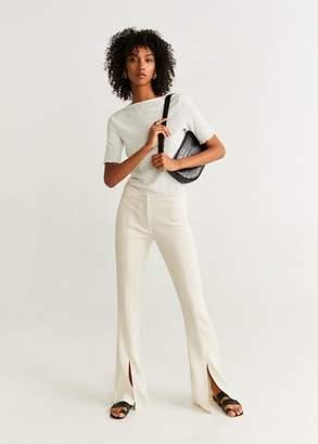 MANGO Textured knit t-shirt off white - XS - Women