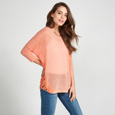 Apricot Coral Daisy Crochet Long Sleeved Top