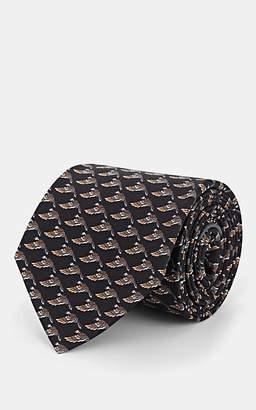 Salvatore Ferragamo Men's Mallard-Print Silk Twill Necktie - Black
