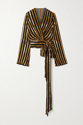 Galvan Pride Sequin-embellished Chiffon Wrap Top - Gold