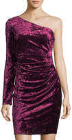 Eliza J Crushed Velvet One-Sleeve Dress