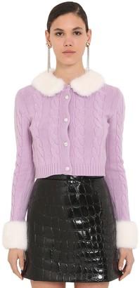 Miu Miu Waved Knit Cardigan W/fur Details