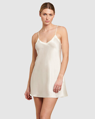Ginia Women's White Chemises - Silk V-Neck Chemise - Size One Size, 8 at The Iconic