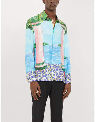 Casablanca Graphic-print relaxed-fit silk shirt