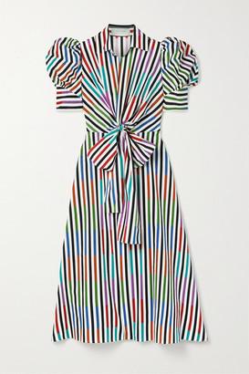 Silvia Tcherassi Roopal Tie-front Striped Cotton-poplin Midi Shirt Dress - Cream