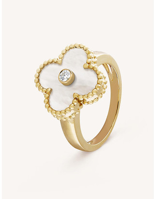 Van Cleef & Arpels Women's Vintage Alhambra Yellow-Gold, Diamond And Mother-Of-Pearl Ring, Size: 47mm