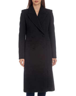 AVEC LES FILLES Long Double-Breasted Wool Top Coat