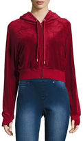 Highline Collective Zip-Up Velour Cropped Hoodie