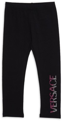 Versace Little Girl's & Girl's Logo Glitter-Embellished Leggings