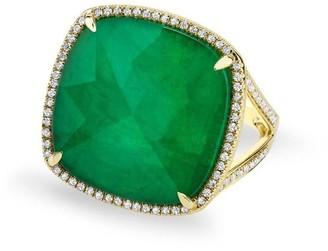 Anne Sisteron Emerald Diamond Triplet Cushion Cut Cocktail Ring