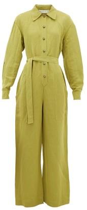 Etro Dafne Belted Linen-blend Jumpsuit - Womens - Light Green