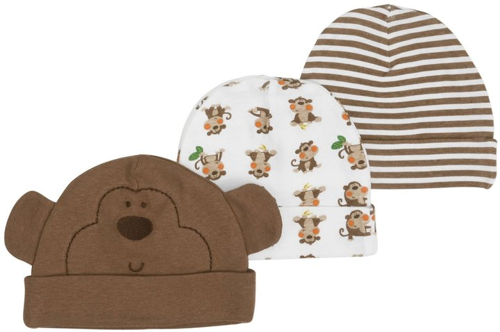 Gerber 3-Pk Novelty Cap Boy - Multicolor-0-6 Months