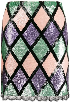 Blumarine Argyle Pattern Sequin Skirt