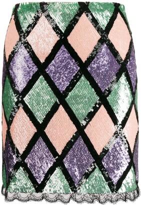 Blumarine argyle pattern sequin skirt