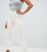 Asos Design DESIGN Rivington high waist denim jeggings in white with pink star bum stitching detail