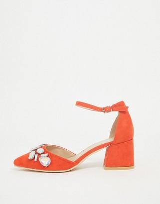 Glamorous low heels with gem embellishment