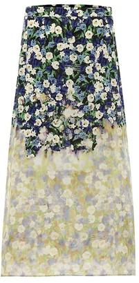 Rokh Floral silk midi skirt