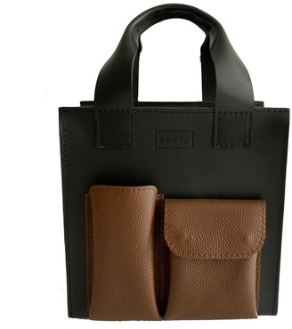 Kartu Studio Natural Leather Handbag Cumin - Black With Brown Pockets