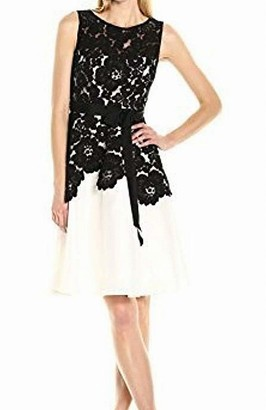 Sangria Women's Sleeveless Midi Fit and Flare with Lace Bodaice
