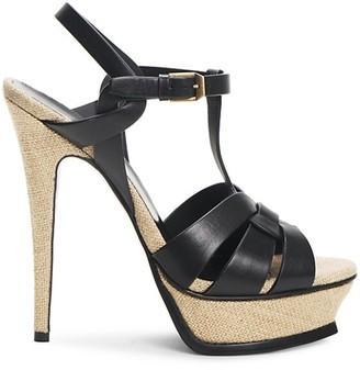 Saint Laurent Tribute 105MM Woven Leather Platform Sandals