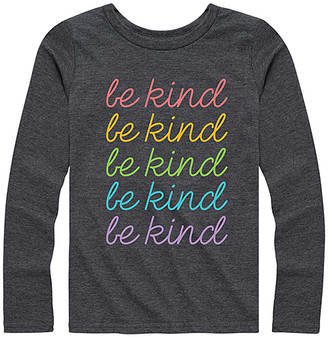 Instant Message Girls' Tee Shirts HEATHER - Heather Charcoal 'Be Kind' Stacked Long-Sleeve Tee - Girls