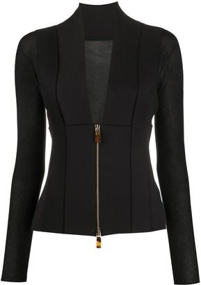 Giorgio Armani Plunge-Neck Zip-Through Jacket
