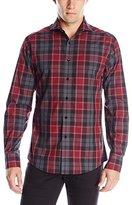 Vince Camuto Men's Plaid Spread-Collar Long-Sleeve Button-Down Shirt