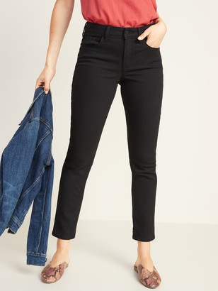 Old Navy Mid-Rise Power Slim Straight Black Jeans for Women