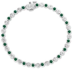 Effy Emerald (1-1/6 ct. t.w.) and Diamond (3/4 ct. t.w.) Bangle Bracelet in 14k White Gold