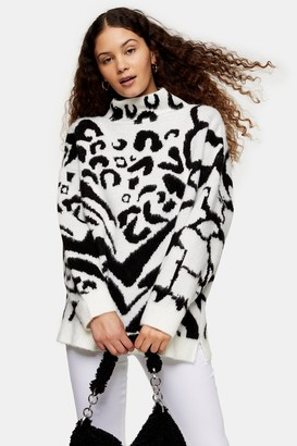Topshop Black And White Mixed Animal Oversized Sweater