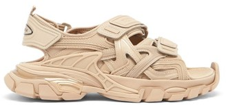 Balenciaga Track Velcro Faux-leather And Rubber Sandals - Beige