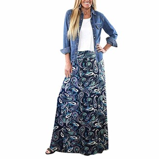 Lialbert Cute Women Spring Summer Long Hippie Bohemian Gypsy Boho Flowers Elastic Waist Floral Halter Skirt Skirts Irregular Ruffle High Waist Slim Casual Beach Boho High Waist Floral Skirt Navy