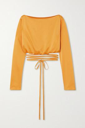 PARIS GEORGIA Charlotte Cropped Tie-detailed Satin Blouse - Mustard
