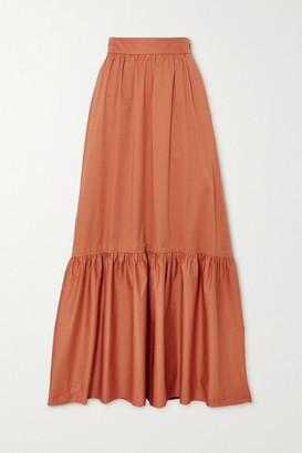 A.L.C. X Petra Flannery Mikell Cotton-blend Poplin Maxi Skirt - Orange