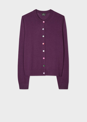 Paul Smith Women's Purple Wool Cardigan With Colourful Buttons