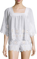 Miguelina Brenna Geometric-Embroidered Top, Pure White