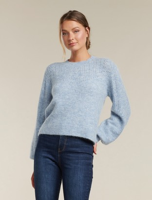 Forever New Alexis Brushed Pointelle Yoke Jumper - Placid Sky - m